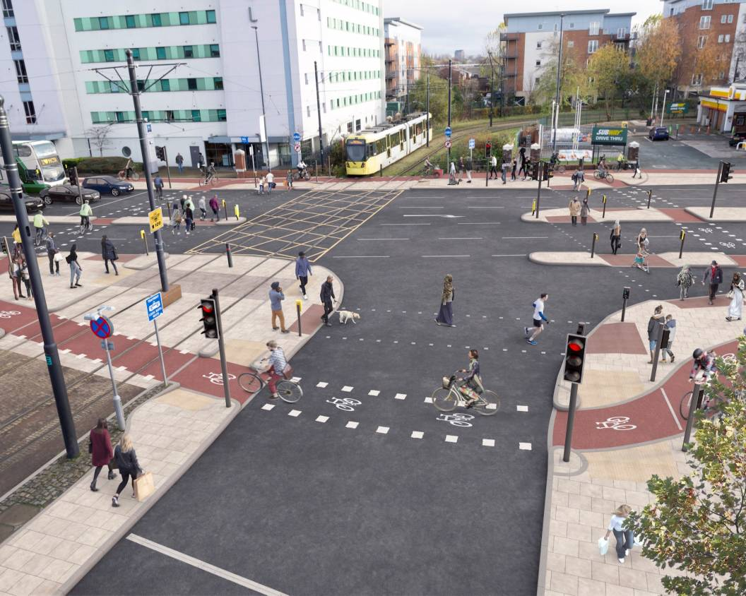 A visualisation of how the junction at Merchants Quay on Trafford road could look with cycling and walking improvements