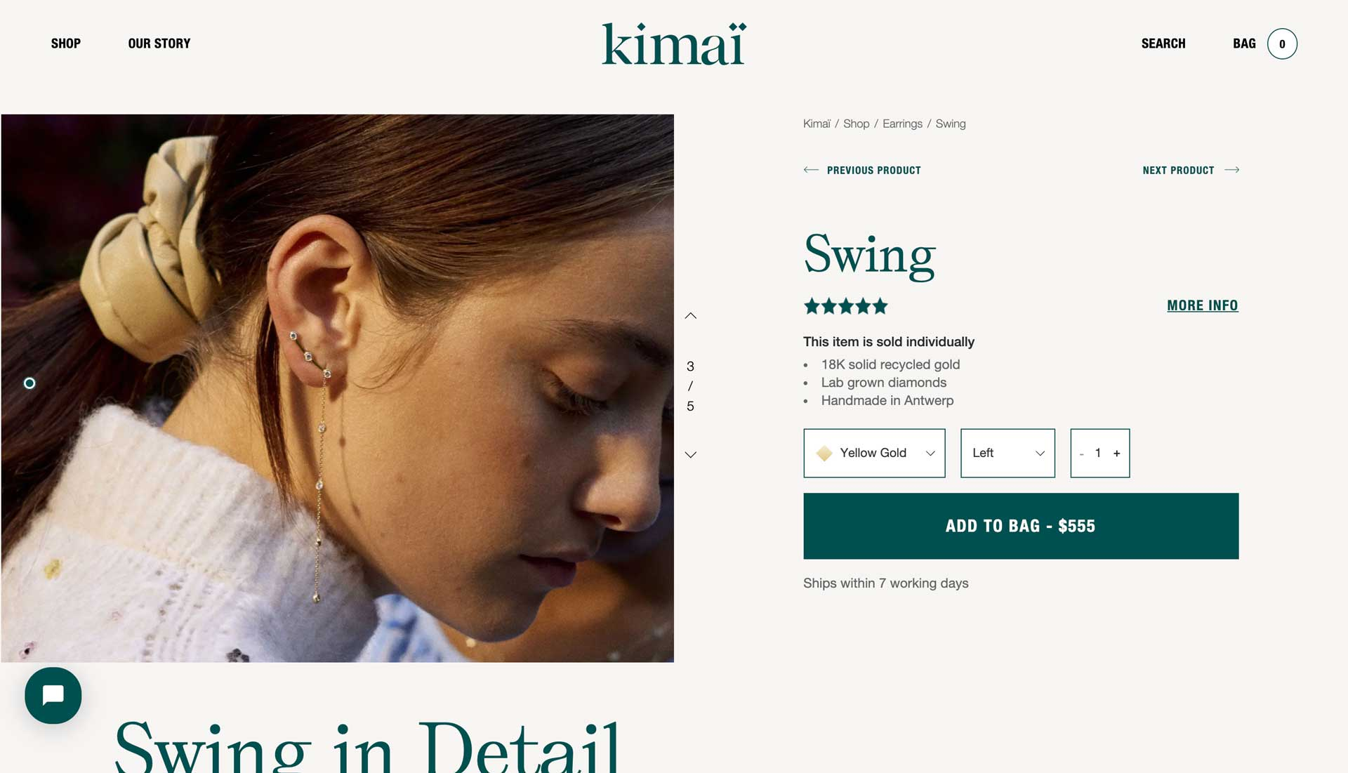 Kimai Product Detail Page