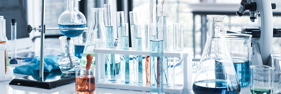 beakers and test tubes in lab