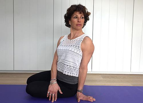 Fenella shows mermaid yoga pose
