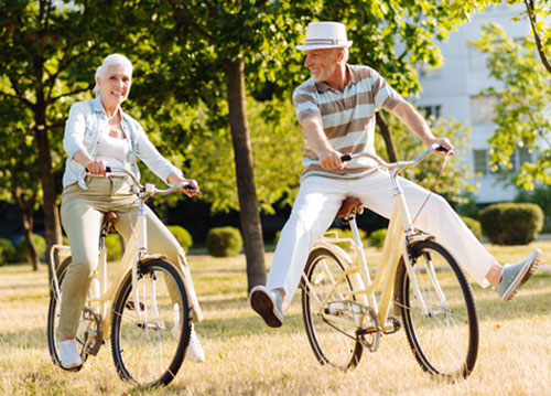 Couple out bicycling