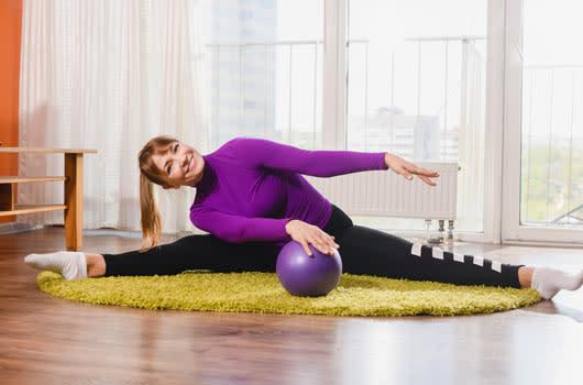 flexible woman stretching