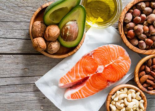 Salmon, nuts, oils, and avocado