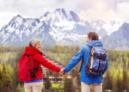 Couple out hiking