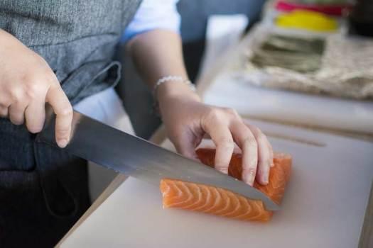 chopping salmon