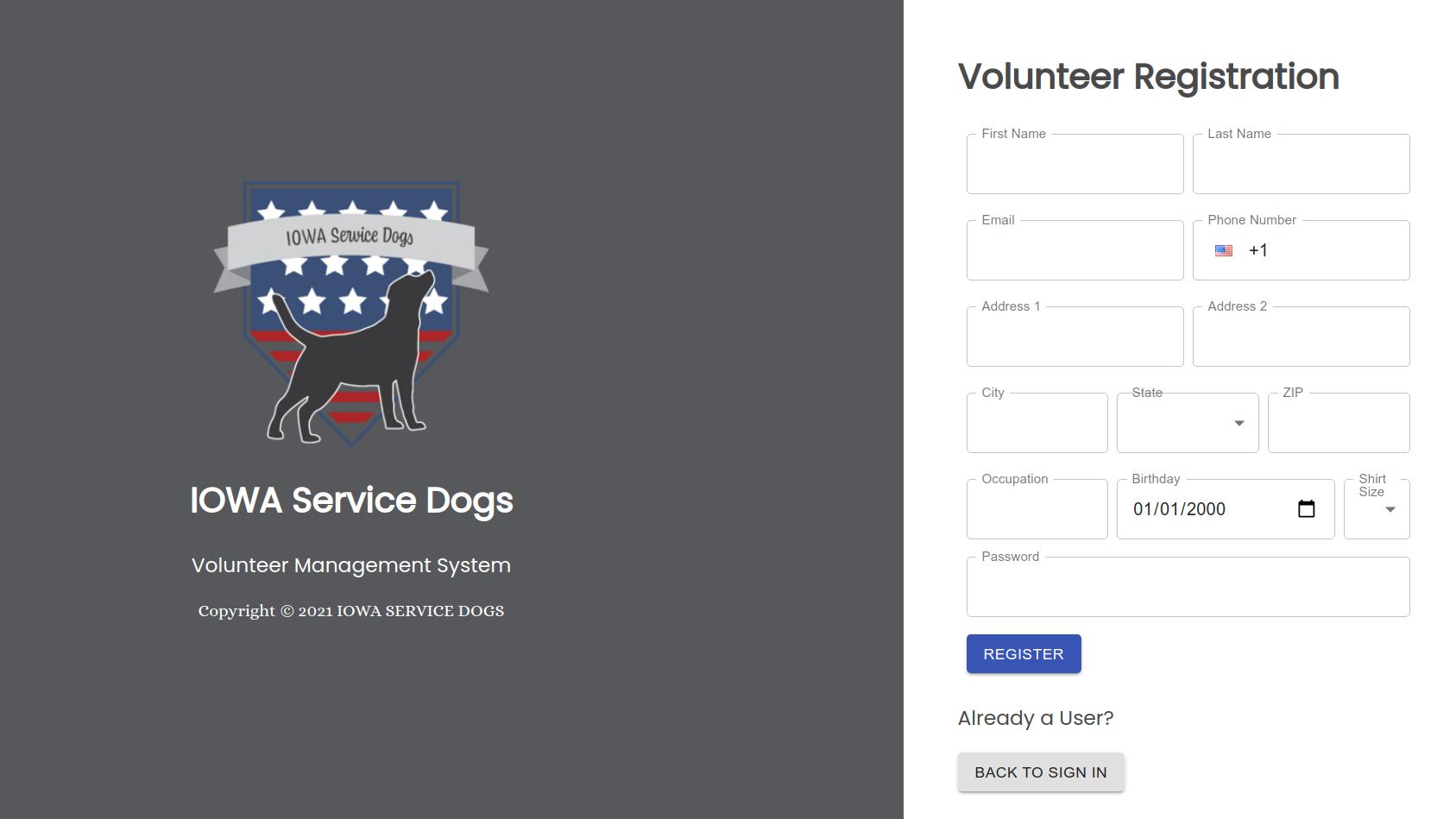 A screenshot of Iowa Service Dog's volunteer management site registration page.