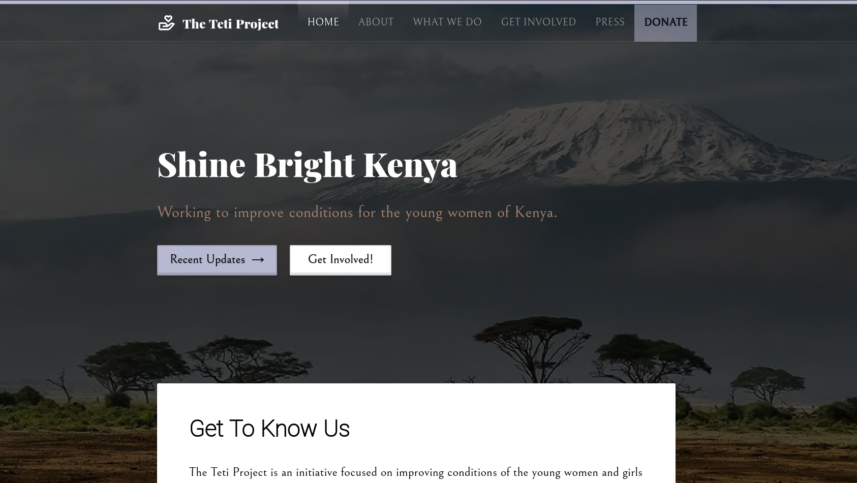 Homepage for The Teti Project website