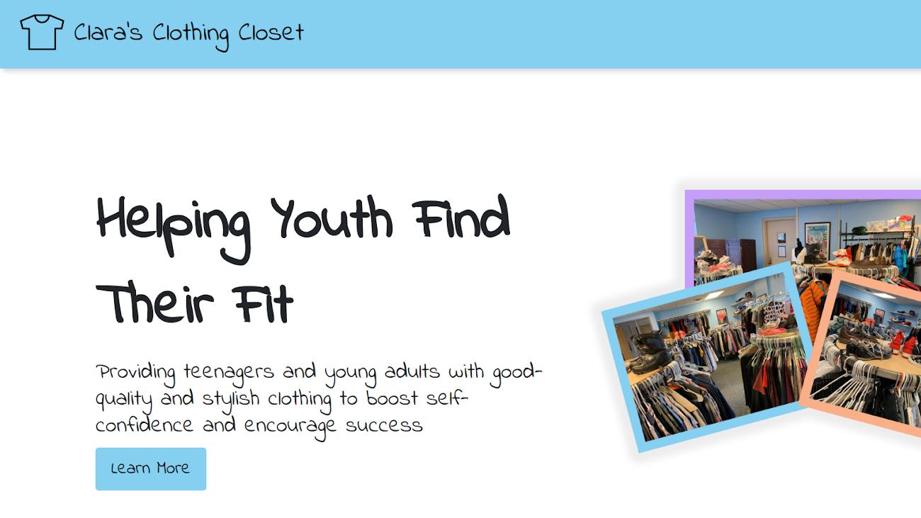 A screenshot of Clothing Closet WDM's website