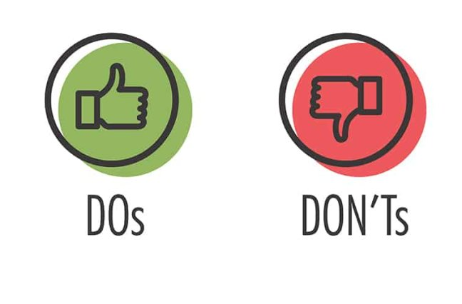 Do and Don't or Like & Unlike Icons with Positive and Negative Symbols