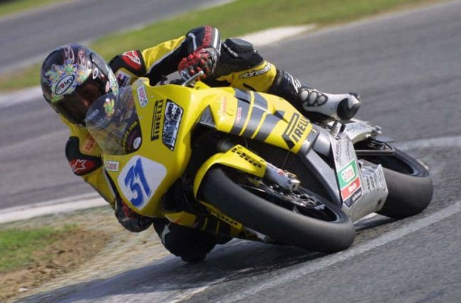 Motorcycle racer on track