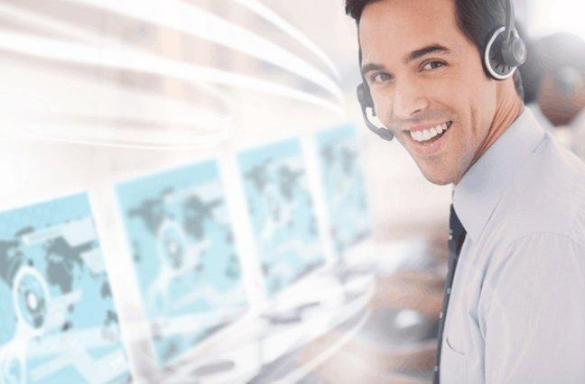 Happy call center agent
