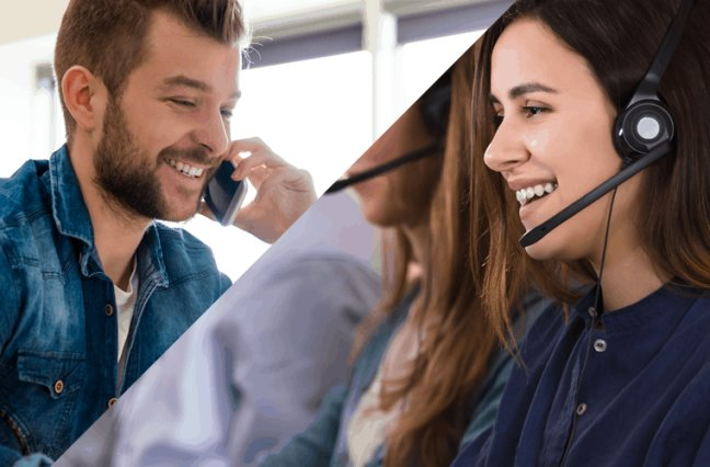Happy customer talking to happy call center agent on the phone