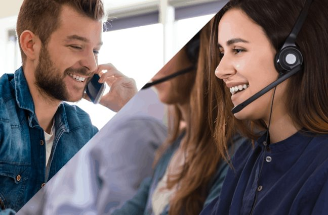 happy customer talking to happy call center agent