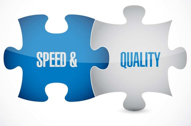 puzzle pieces Speed and Quality fit together