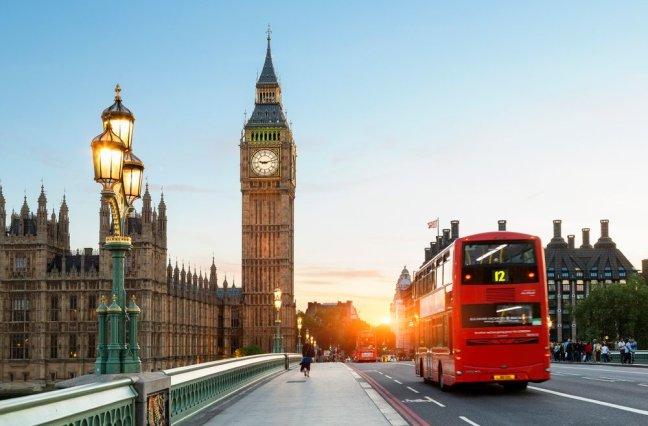 England, London, red double-decker bus on Westminster Bridge