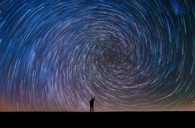 Nighttime stars swirling