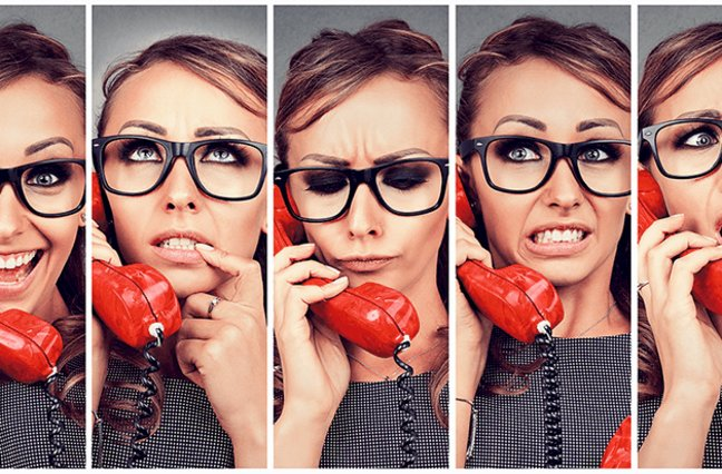 woman expressing different emotions while on phone