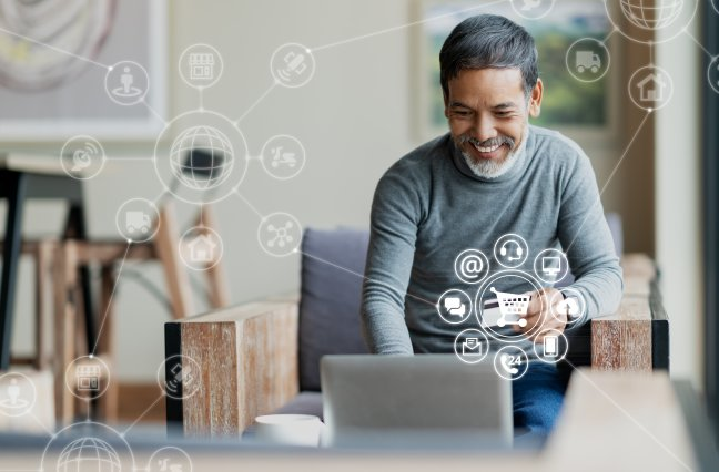 Man making online purchase