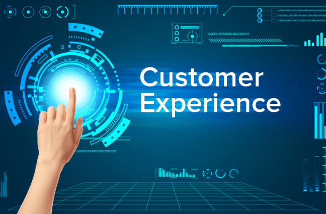 """Finger pointing to a screen with the text """"Customer Experience"""""""
