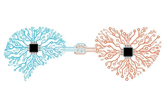 Vector printed circuit board human brain and heart.