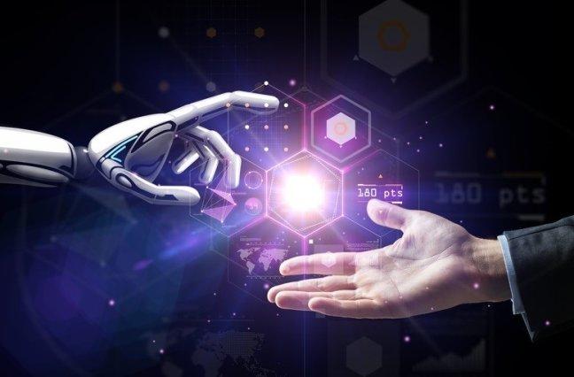 A robot hand and human hand