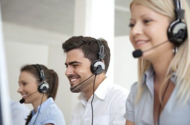 Happy call center agents at work