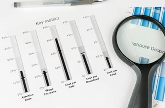 papers with key metrics and magnify glass