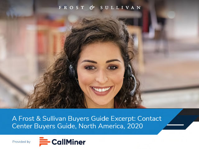 Frost and Sullivan Contact Center Buyers Guide North America 2020 Excerpt