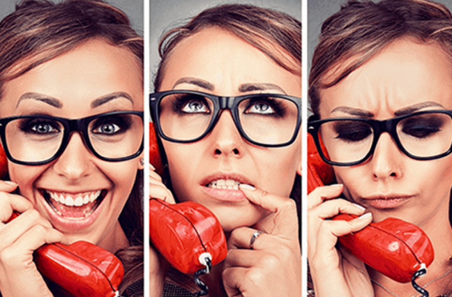 Woman on phone with customer service, happy, neutral, sad faces