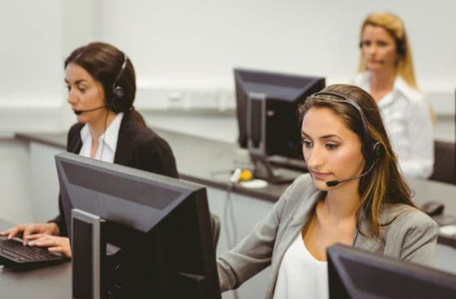 call center agents busily working
