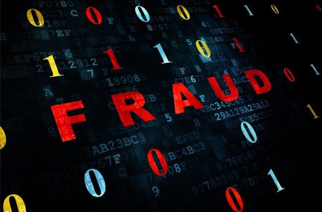 Cyber fraud on binary background