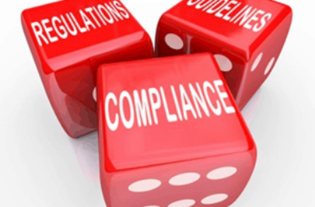 Dice that read Regulations, Guidelines, Compliance