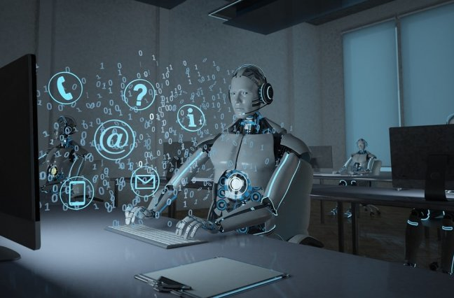 AI robot in front of computer