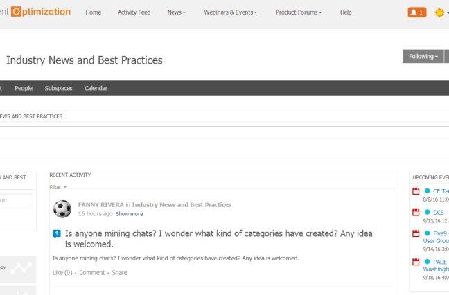 Screenshot of Engagement Optimization Interactive Community