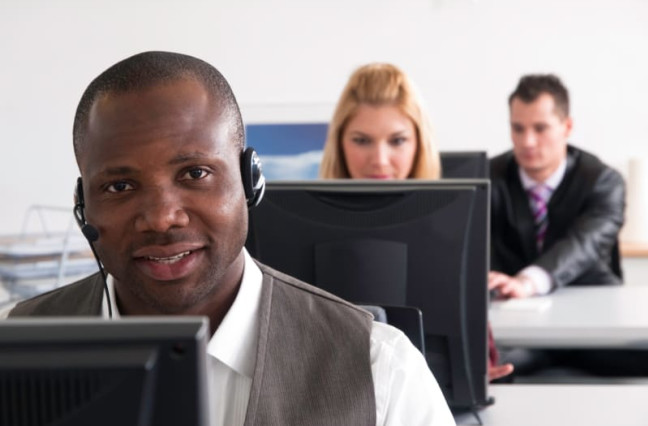 Call center agent busily working