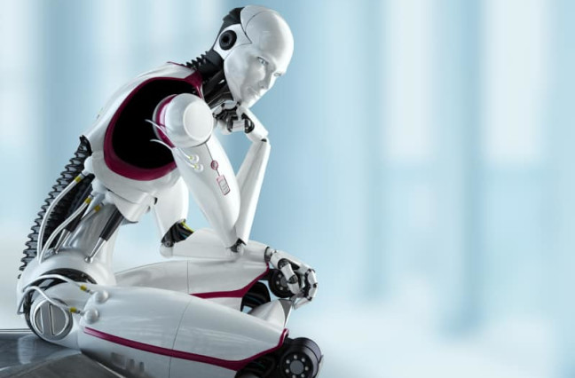robot sitting and contemplating