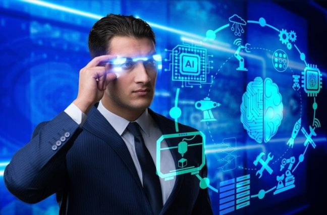 Man touching AI screen