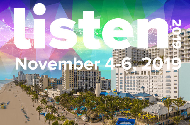 LISTEN 2019 convention announcement over beach and hotel scene
