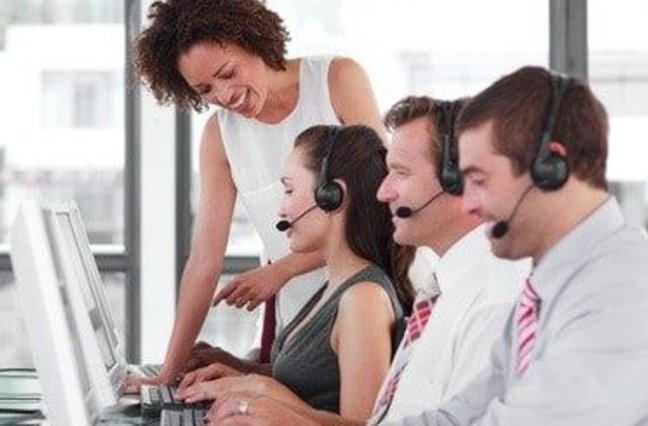 Call center manager working with agents