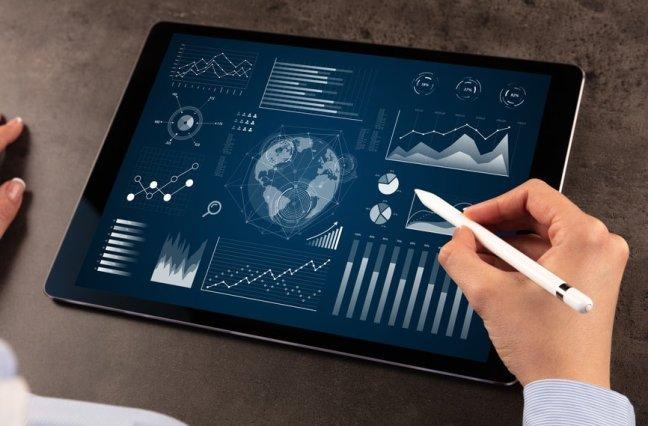 Call center metrics graphics on tablet