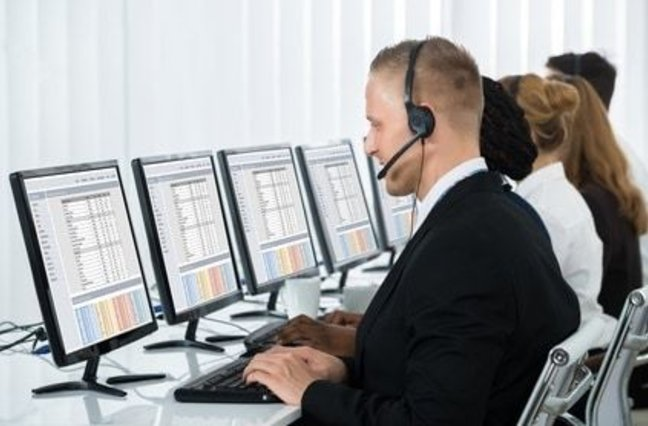 call center agents busy working