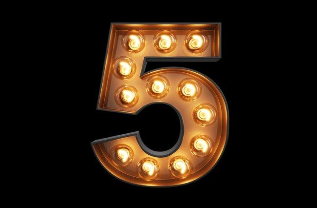Number 5 in lights