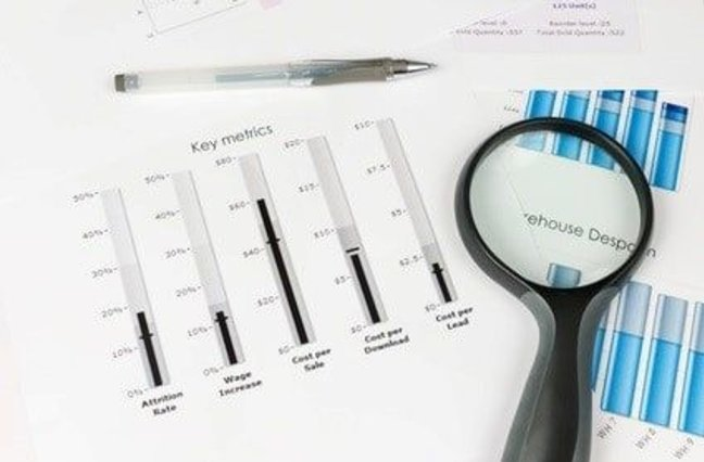 Database marketing metrics, papers with key metrics and magnifying glass