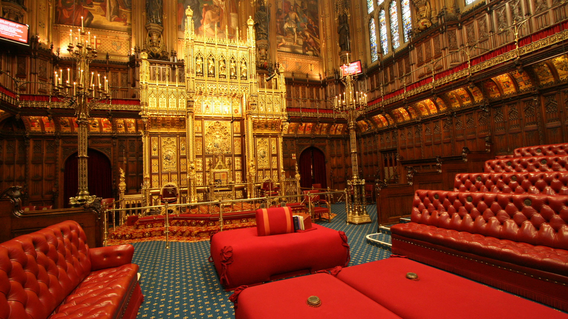 An empty House of Lords chamber, House of Parliament
