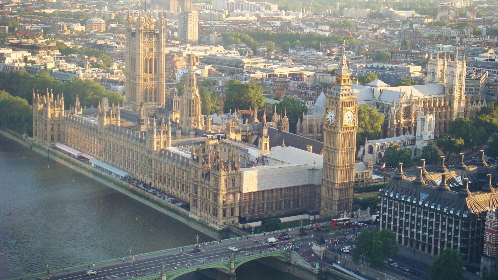 Bird's-eye view of the Palace of Westminster, Houses of Parliament
