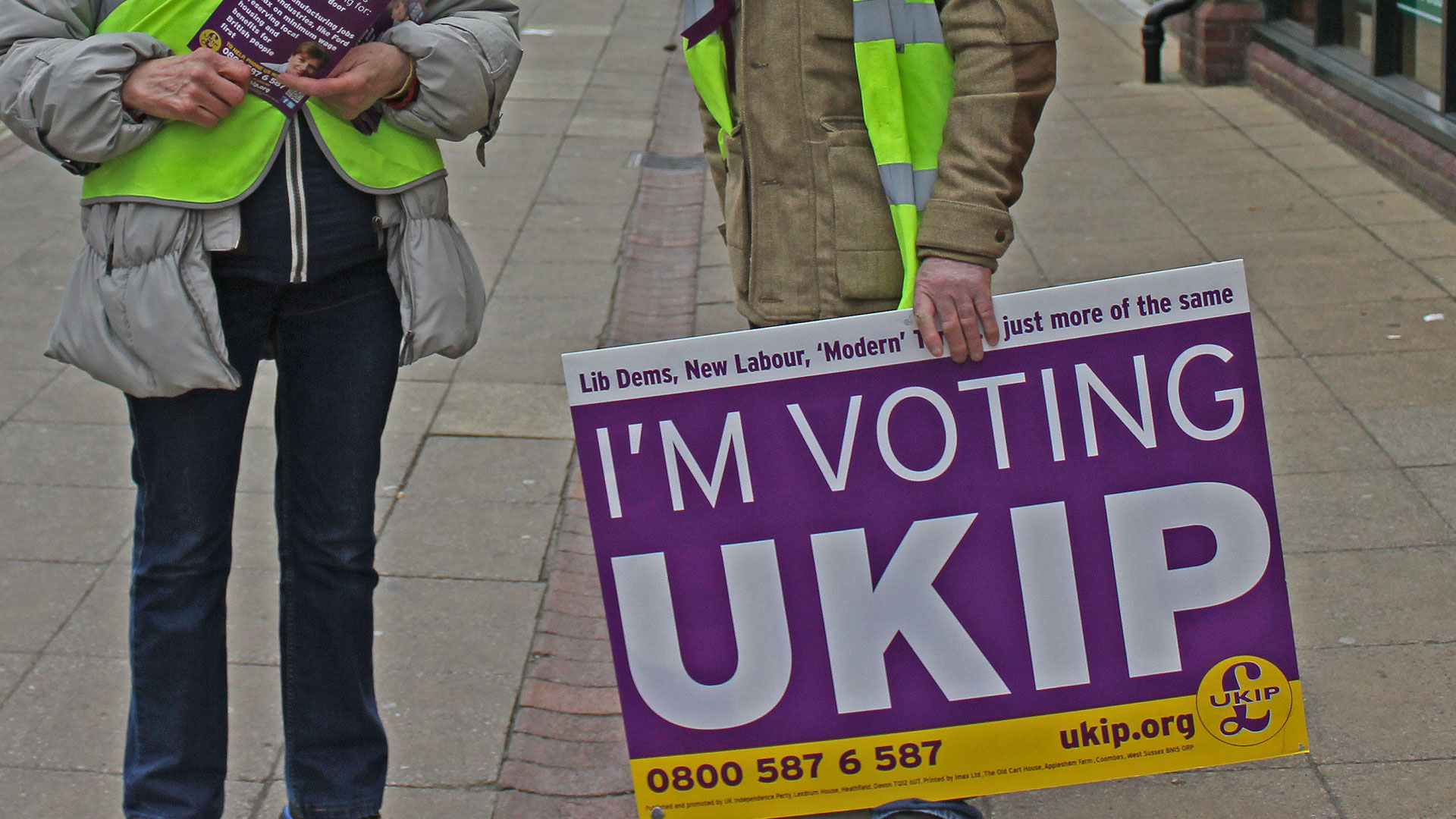 Ukip supporters with an 'I'm voting Ukip sign' canvassing voters during the 2015 UK general election.