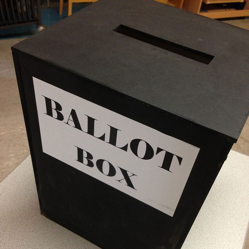 Mock election ballot box