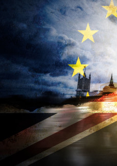 Photo showing EU and UK flags superimposed onto Parliament