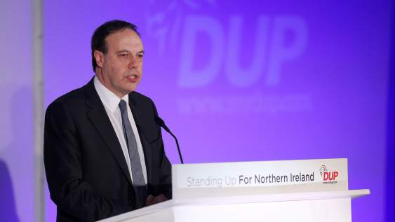 Deputy Leader of the Democratic Unionist Party Nigel Dodds giving a speech during a DUP conference.