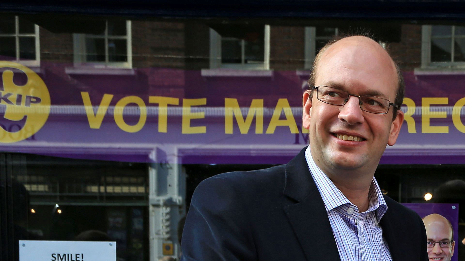 Former Conservative Party MP Mark Reckless campaigning for Ukip during the Rochester and Strood by-election.